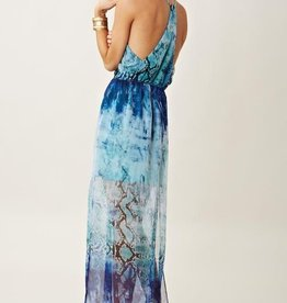 Lavender Brown Snake print surplus v-neck top w/ panel slit skirt maxi dress