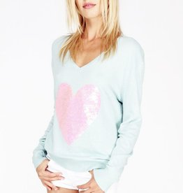 Wildfox Couture Pink Sequin Brigitte's Heart lslv v-neck knit sweater