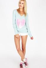 Wildfox Couture Pink Sequin Brigitte's Heart lslv v-neck knit sweater