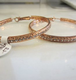 """Romeo + Juliet 2"""" rhinestone hoop earrings in ROSE GOLD"""
