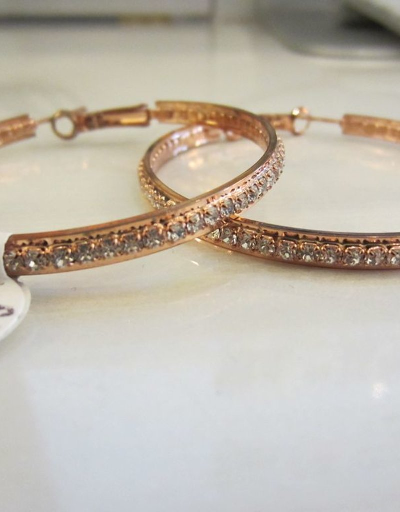 "Romeo + Juliet 2"" rhinestone hoop earrings in ROSE GOLD"