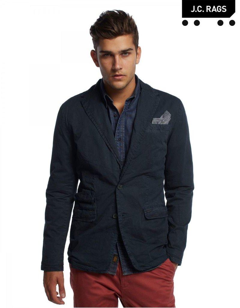 JC Rags Deconstructed twill blazer w/ handkerchief pocket