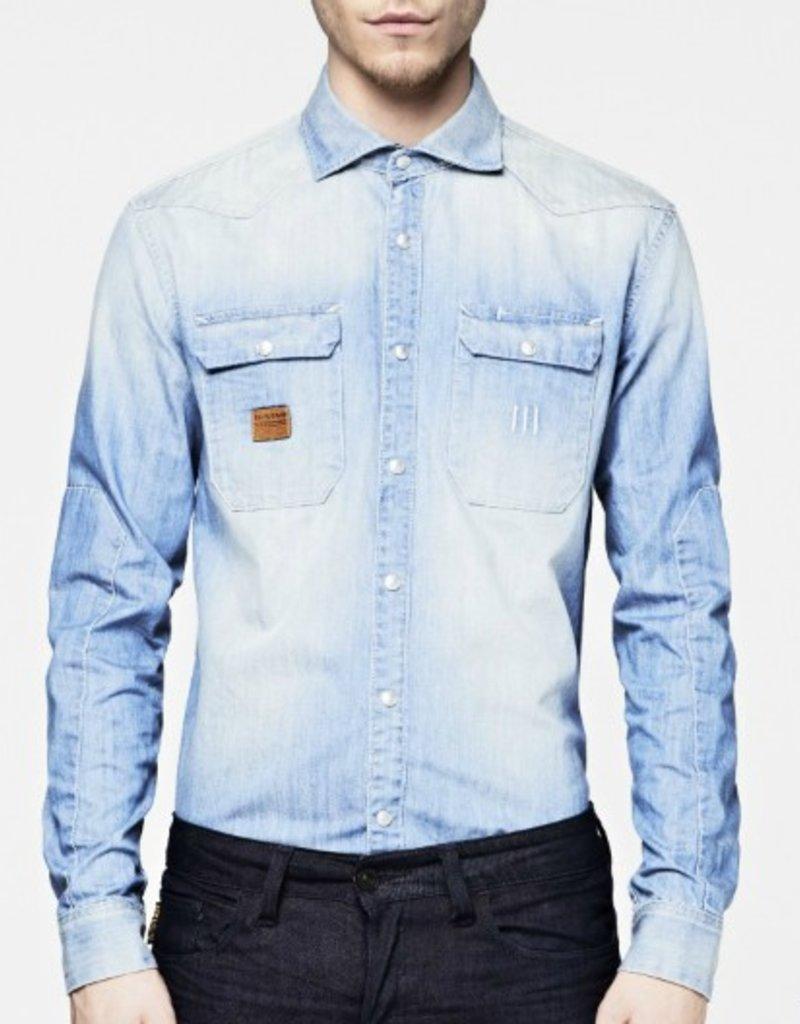 G-Star Construct flap pockets oxide denim dress shirt