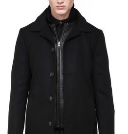 Mackage Doug by Mackage is a sophisticated men's wool-cashmere blend coat with removable leather-trimmed puff vest insert
