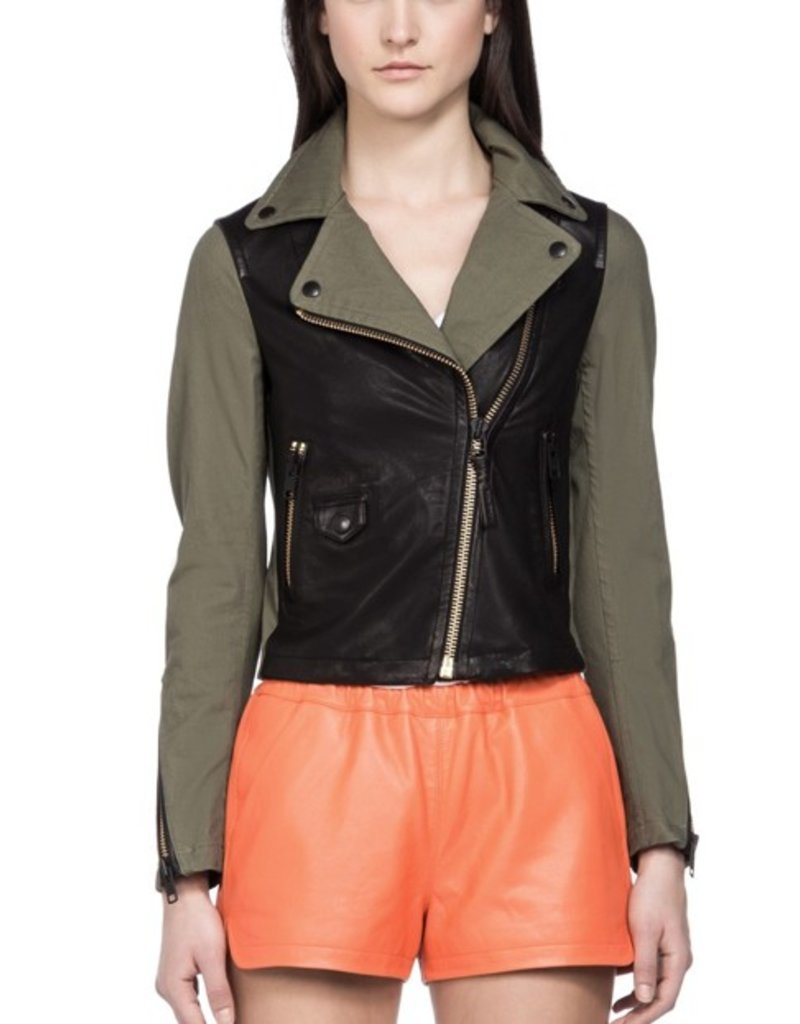 Mackage Minella asymmetrical zip front contrast leather bodice & back yoke short biker distressed look jacket
