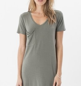 Z Supply The Sleek Jersey Pocket Curved V-Neck Tee Dress