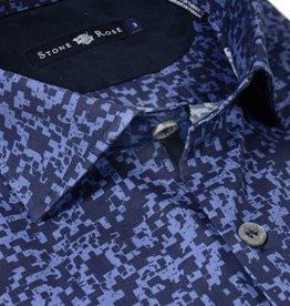 Stone Rose Navy Pixel Camo Printed Dress Shirt