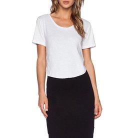 "LNA <li>Color: White/Black<br /><li>Round neckline <br /><li>Short sleeves<br /><li>Curve-hugging attached skirt.<br /><li>Curved hemline with notched sides<br /><li>Length: 37""<br /><li>100% cotton<br /><li>Bottom: 93% modal, 7% spandex<br /><li>Made in the USA"