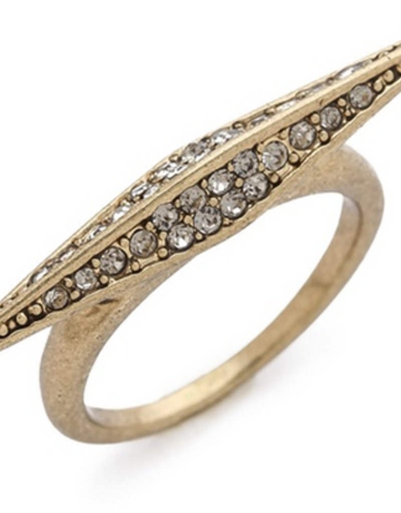 House of Harlow Size 5 Gold Sparkling Marquis ring