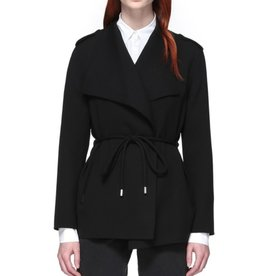 Mackage Brea Winged Collar Cool Wool Coat w/ Tabular Tie Belt