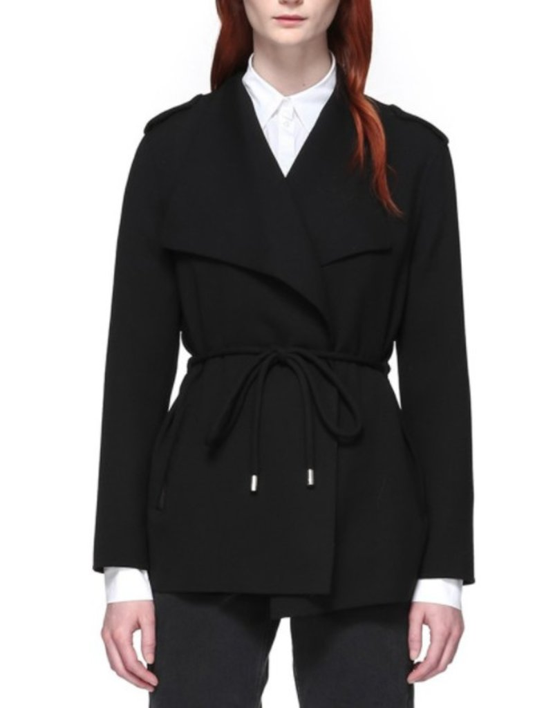 Mackage Brea Winged Collar Cool Wool Coat w/ Tabular Tie Belt