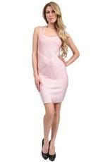 Stretta Ciara crisscross front foil bandage dress