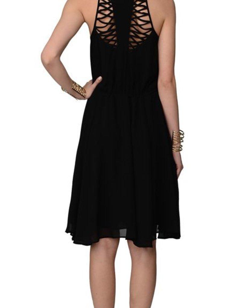 Greylin Lucy lattice cutout boatneck slvls drawstring waist dress