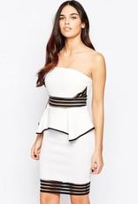Lipsy Bandeau Sheer Panel Inserts Peplum Dress