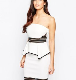 Bandeau Sheer Panel Inserts Peplum Dress