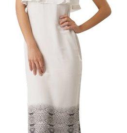 Stella & Jamie Cairo tiger print ruffle silk maxi dress