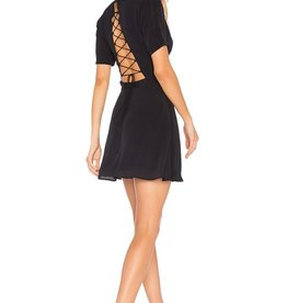 Privacy Please Virginia V-Neck Lace-Up Tie Back Cutout S/S Skater Dress