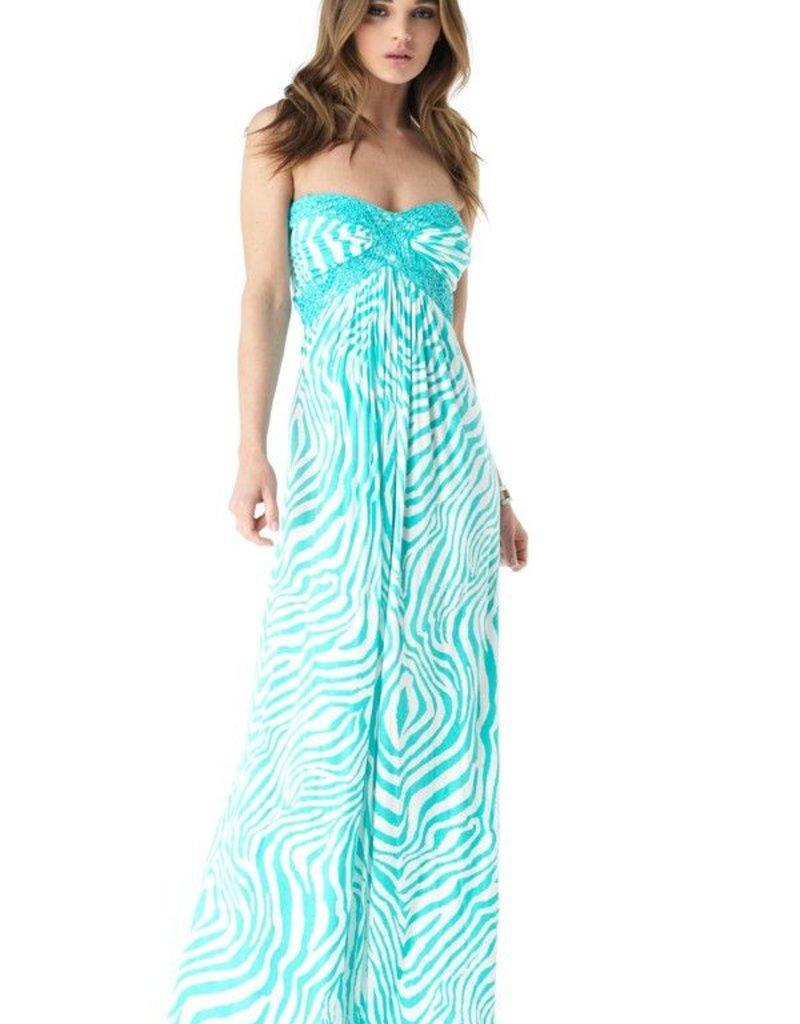 Sky Jelsy zebra print strapless long maxi dress w/crochet trim detail