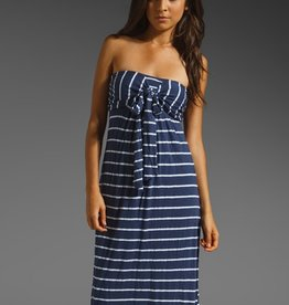 Splendid White Venice Stripe tie front strapless maxi dress