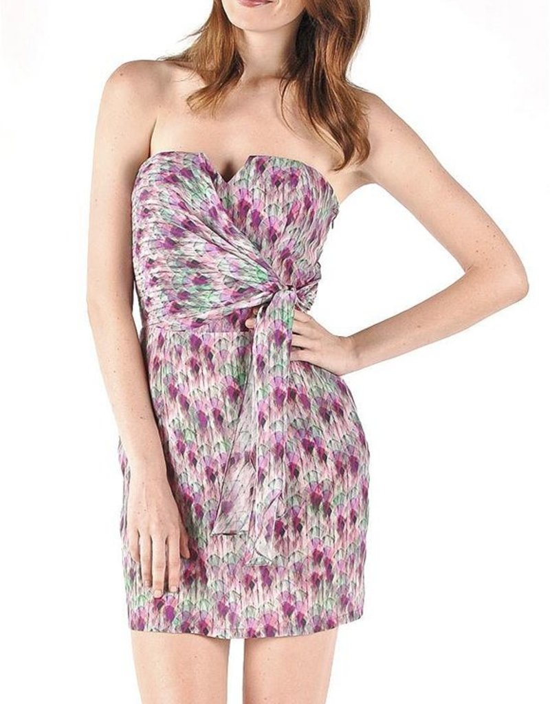 Charlie Jade Nikitta magenta art deco print side sash tie wrap notched v-neck bustier strapless dress w/ pockets