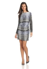 Charlie Jade Noemi snake print lslv boat neck draped open back elastic waist dress