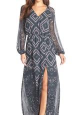 Charlie Jade Print Silk Chiffon Blouson Maxi Dress