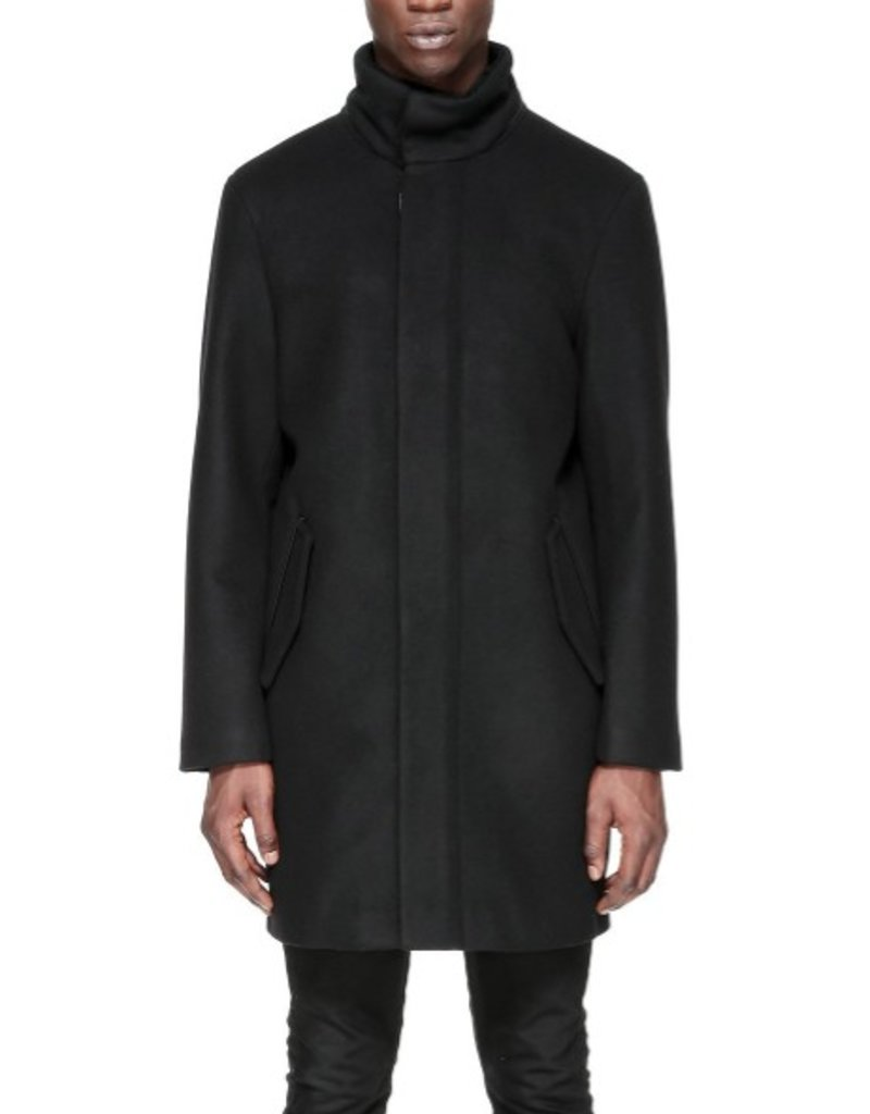 Mackage Alneau Removable Hood Flat Wool Coat w/ Sheepskin Inner Collar