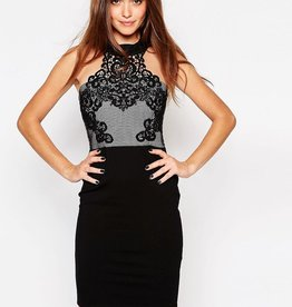 Lipsy Cornelli Mesh Cut Away High Neck Bodycon Dress