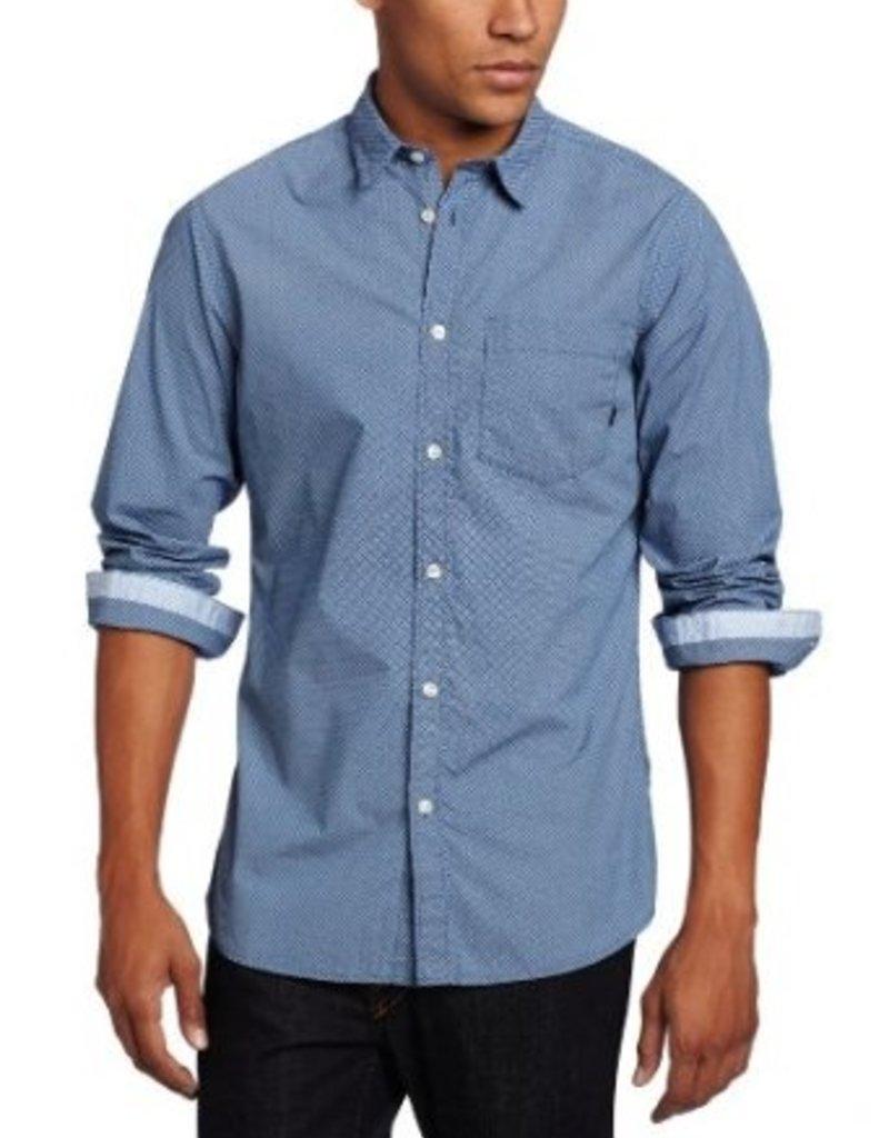 JC Rags Allover tiny diamond pattern pocket dress shirt