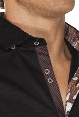 Stone Rose Tone-on-Tone plaid dress shirt w/ paisley trim & nvy/copper stripe trim in the button front placket
