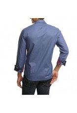 Stone Rose Geometric dress shirt w/ prp/pnk textured trim & blu/pnk stripe trim in the button front placket