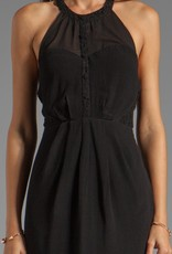 Greylin Taylor button front lace trim sheer mix bodice halter dress w/ pockets