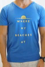 Kinetix Where My Beaches At v-neck sslv tee