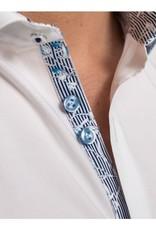 Stone Rose Solid Stretch dress shirt w/ blu floral & nvy stripe trim
