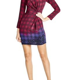 Charlie Jade Plaid Knot Front Silk Dress