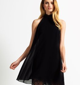 Lipsy Lace Cut Away High Neck & Hem A-Line Dress