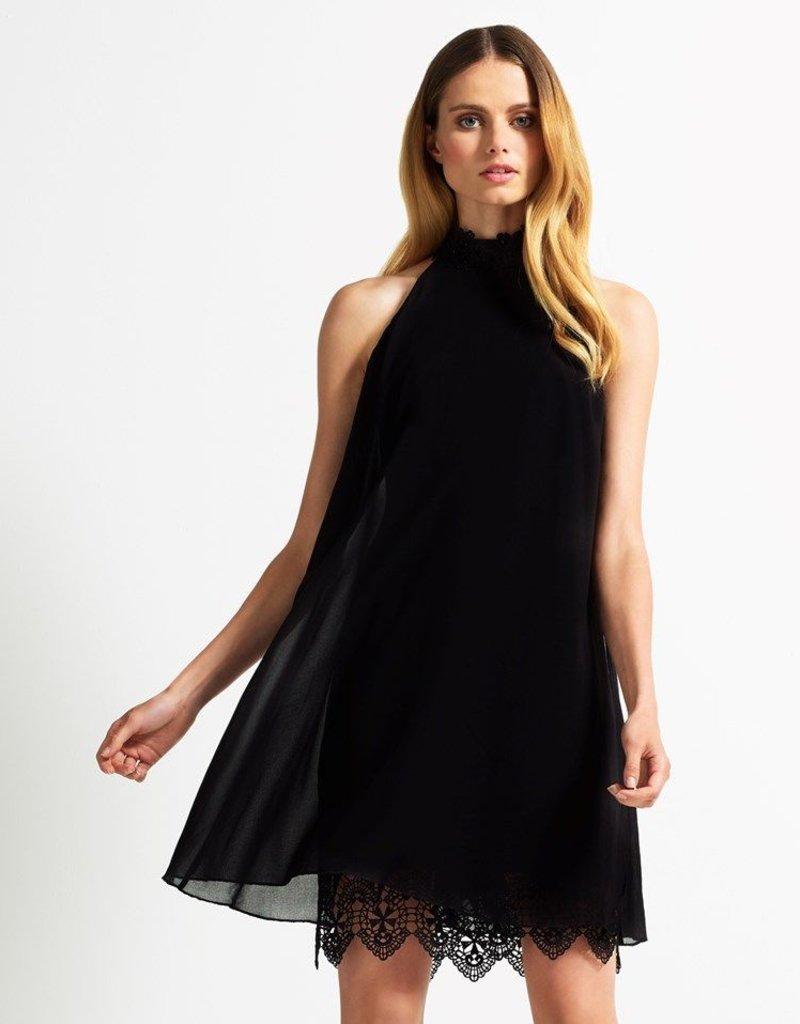 Lipsy Lace Cut Away High Neck & Hem A-Line Dress