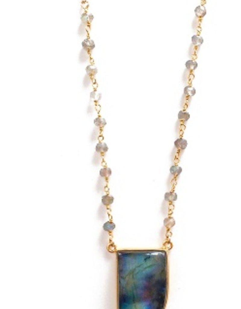 Elizabeth Stone Gemstone Horn Necklace in Labradorite
