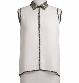 Blu Pepper Python trim & collar button front slvls blouse top