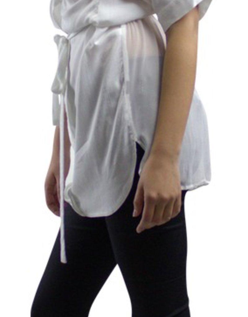 Stella & Jamie Kam pleated placket front v-neck sslv pocket blouse w/sheer chiffon back & tie belt