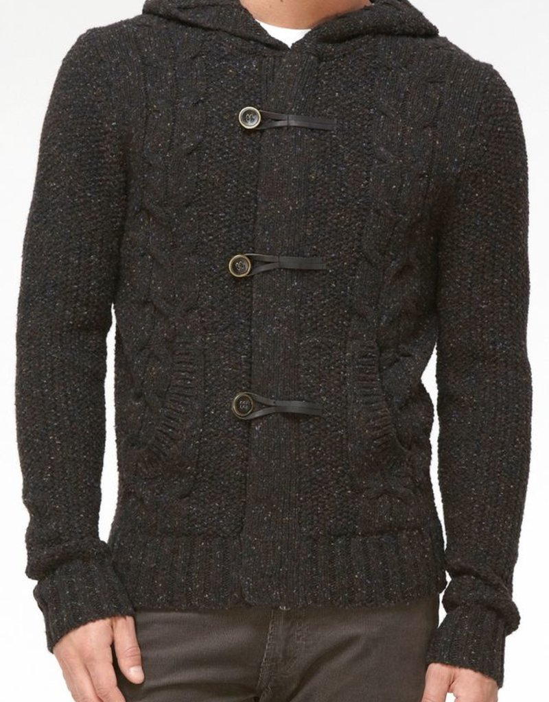 Vince Donegal tweed toggle knit hooded sweater w/ leather looping metal buttons