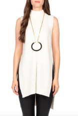 C'est Moi Mock Neck Sleeveless Hi-Lo Knit Tank w/ Slit Sides