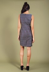 Darling Lorraine Textured Tile Jacquard Crew Neck Slvls Waist Button Tabs Dress