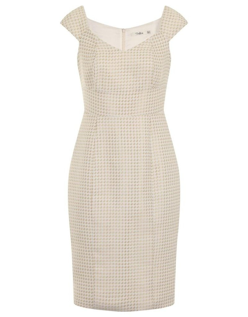 Darling Leonie Textured Dogtooth Bardot Neck Cap S/S Fitted Dress