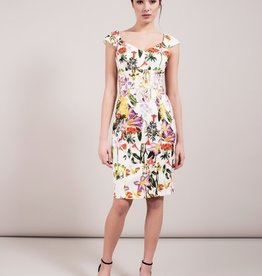 Darling Aoifie Floral Sweetheart Neck Cap S/S Fitted Dress