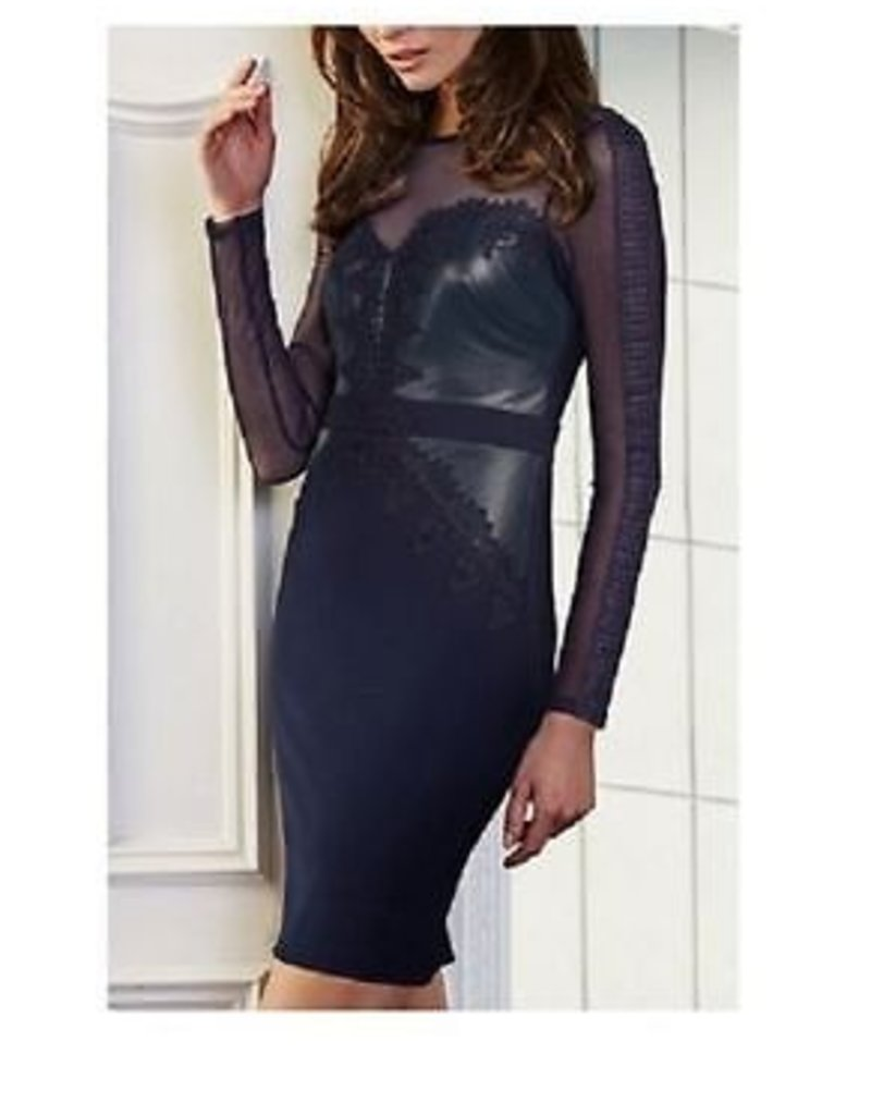 Lipsy Cornelli Lace PU Faux Leather Bust Sheer Mesh L/S Bodycon Dress