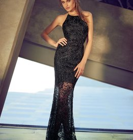 Lipsy Lace Glitter Long Gown Dress