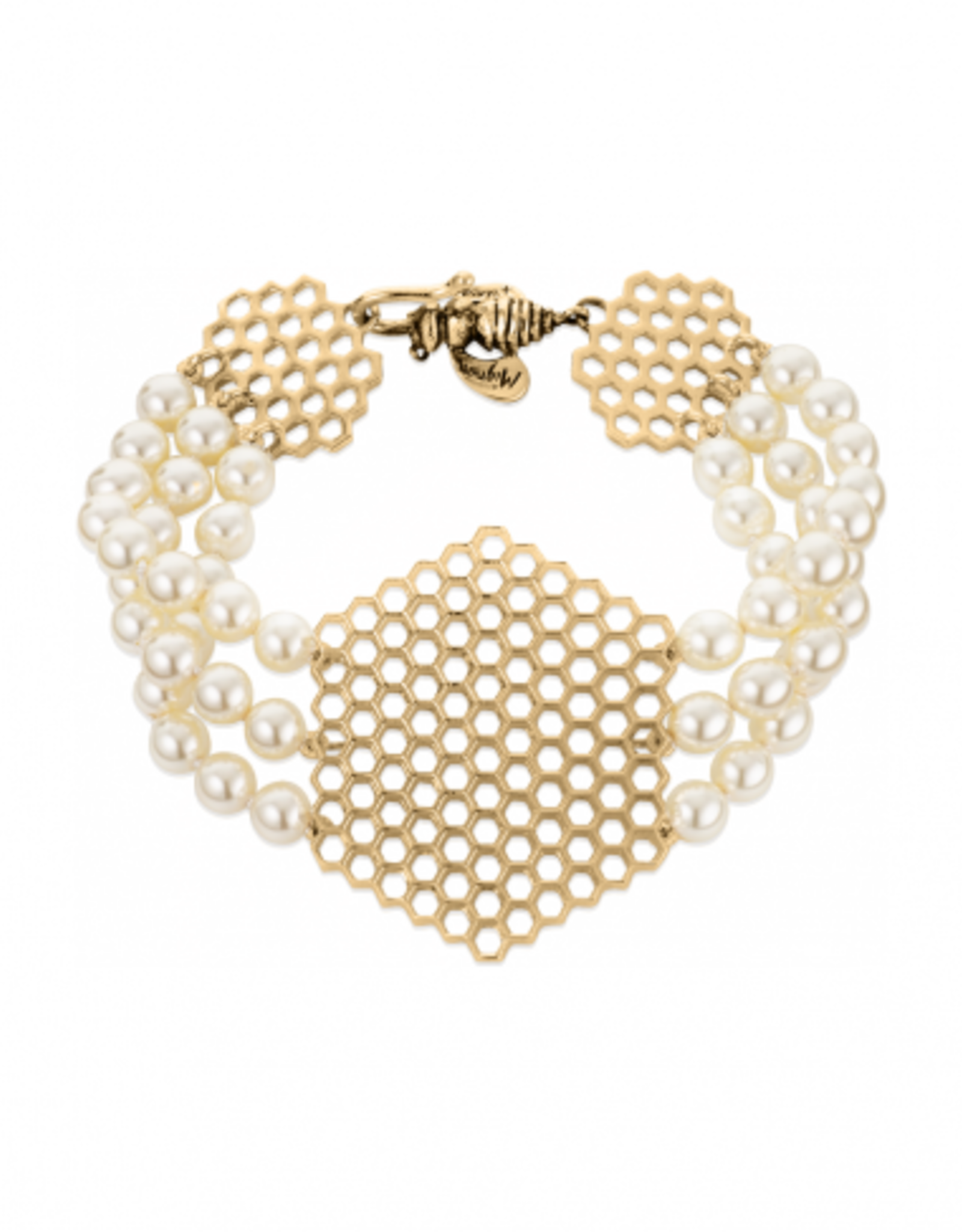 Mignon Faget Mignon Faget Beehive Swarovski Pearl Bronze Bracelet