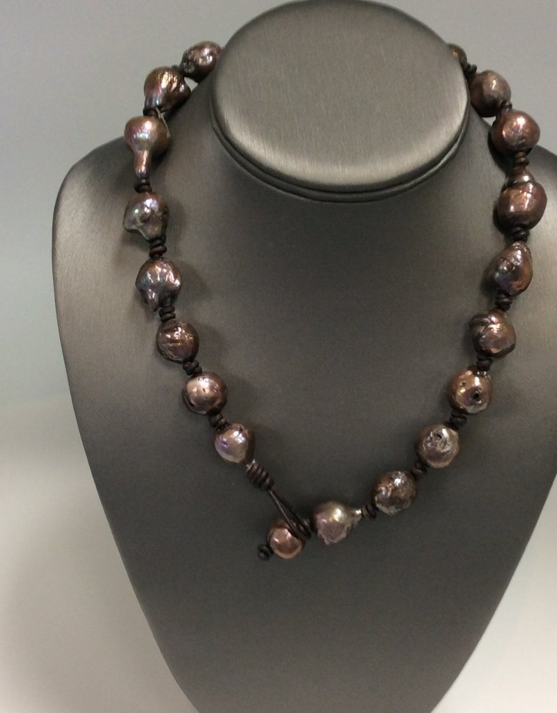 Big Chocolate Freshwater Pearls on Leather