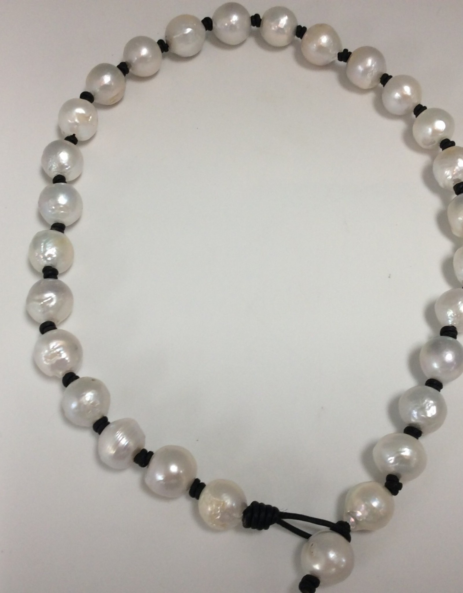 Big White Freshwater Pearls on Leather Necklace